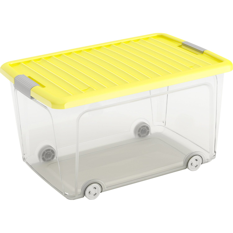 8c1103865 Úložný box W L vysoký s víkem 4 kolečka žlutý nakoupit u OBI