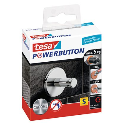 Tesa Powerbutton Háček Small chrom